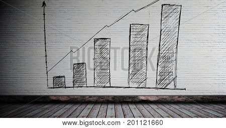 Digital composite of Bar chart incremental drawn on wall in room