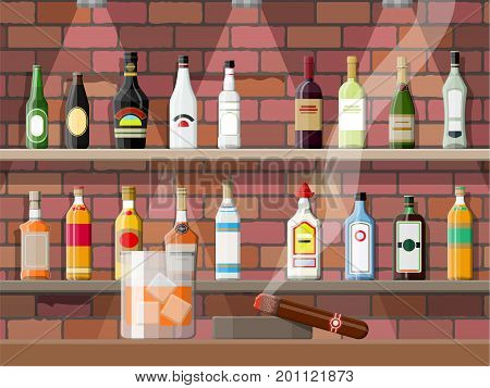 Glass of whiskey with cigar and ashtray. Drinking establishment. Interior of pub, cafe or bar. Bar counter, chairs and shelves with alcohol bottles. Vector illustration in flat style.