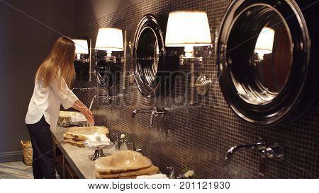 Elegant Lady Wash Hand In Luxurious Bathroom, Casual Girl Fresh Washstand