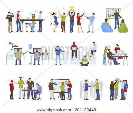Business teamwork icons set with coworking symbols flat isolated vector illustration