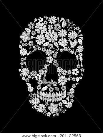 Vintage embroidered flower skull. Muertos Dead Day Fashion design decoration print. White lace marigold daisy chamomile beautiful on black background. Greeting invitation vector illustration art