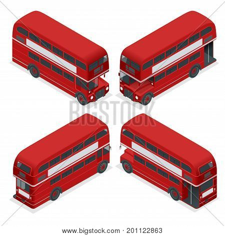 Isometric Highly detailed Red Bus isolated double decker London UK England vehicle icon set. Can be used for workflow layout, game, diagram, number options, web design and infographics.