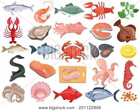 Seafood dinner menu items flat icons big set with crab crayfish oyster mollusk tuna salmon vector illustration