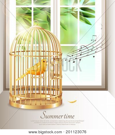 Canary singing in golden birdcage with music notes in summer time on background of window vector illustration