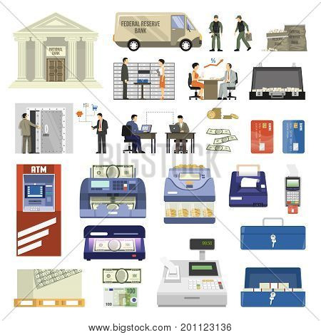 Flat set of bank building equipment and clerks isolated on white background vector illustration