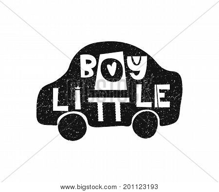 Little boy. Hand drawn style typography poster. Greeting card, print art or home decoration in Scandinavian style. Scandinavian design black and white. Vector illustration