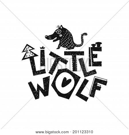Little wolf. Hand drawn style typography poster. Greeting card, print art or home decoration in Scandinavian style. Scandinavian design black and white. Vector illustration