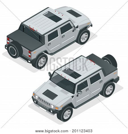 Isometric Pickup Truck Highly detailed Off-road write car. Modern VIP transport. Vector illustration. Used for workflow layout, banner, diagram, number options, web design, game, infographics.