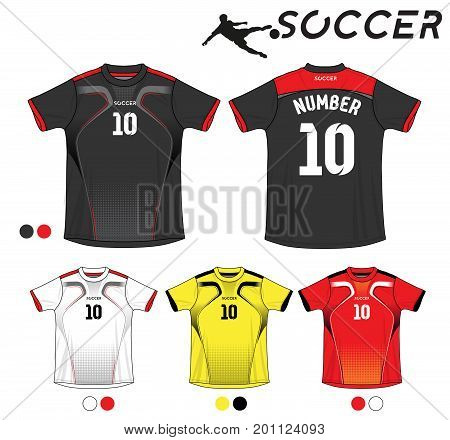Soccer jersey template. Mock up Football uniform for football club. Team apparel. Vector Illustration design