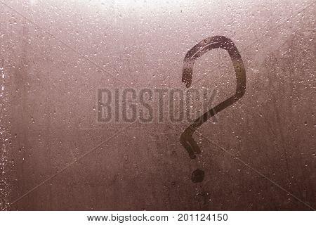 Autumn Rain, The Inscription On The Sweaty Glass - Question Mark. Copy Space.