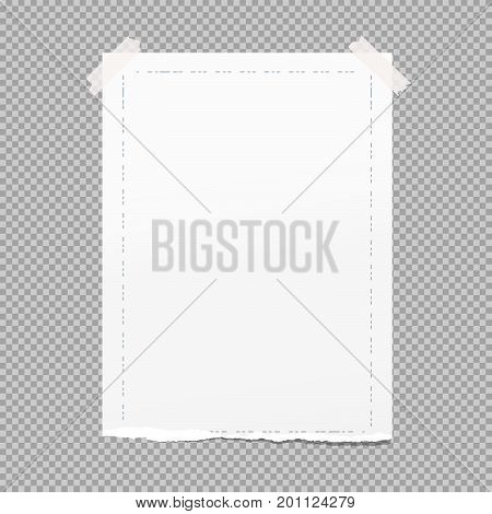 White ripped note, copybook, notebook paper with dashed line frame stuck on grey squared background