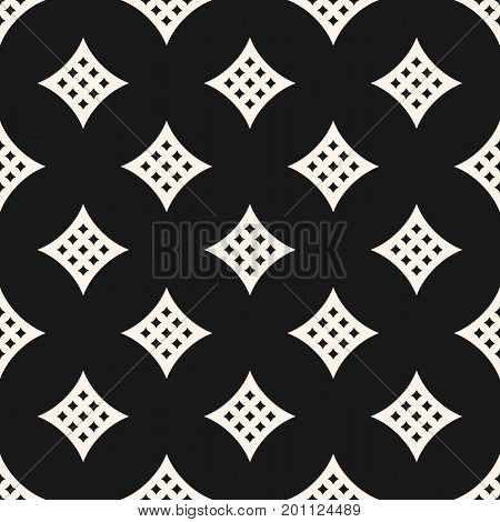 Vector seamless pattern with big perforated rhombuses, curved diamond shapes. Simple abstract monochrome geometric background, repeat tiles. Stylish modern dark design for decoration, digital, web.