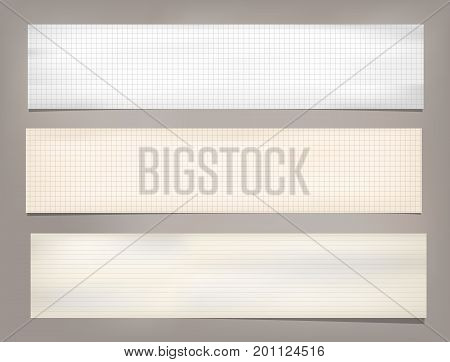 Striped, ruled, squared note, copybook, notebook paper strips stuck on brown background