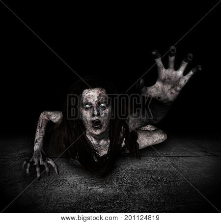 3d illustration of scary ghost woman coming out from the hole of grunge wallHorror backgroundmixed media