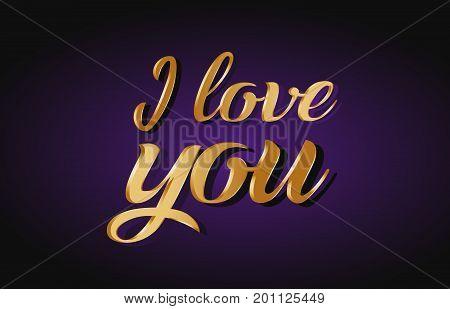 I Love You Gold Golden Text Postcard Banner Logo