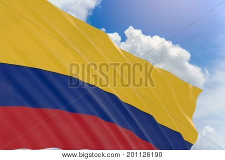 3D Rendering Of Colombia Flag Waving On Blue Sky Background