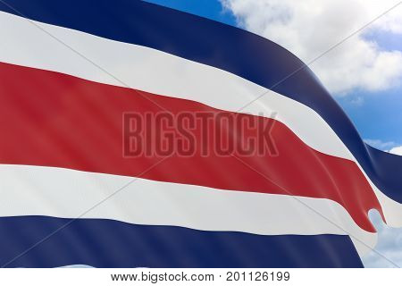 3D Rendering Of Costa Rica Flag Waving On Blue Sky
