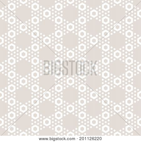 Hexagon texture vector seamless pattern in soft pastel colors beige & white. Perforated surface, hexagonal grid.