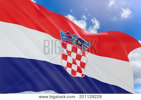 3D Rendering Of Croatia Flag Waving On Blue Sky Background