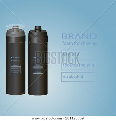 Aerosol foam packing for shaving. Vector illustration