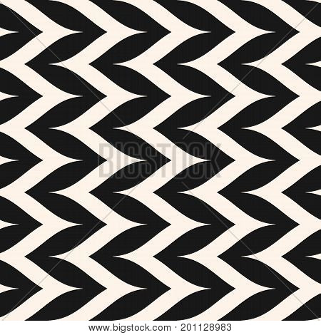 Herringbone pattern. Simple vertical zigzag stripes texture. Abstract monochrome background, pop art style. Repeat design for prints, decoration, fabric, furniture, bedding. Curly pattern, zig zag pattern, lines pattern.
