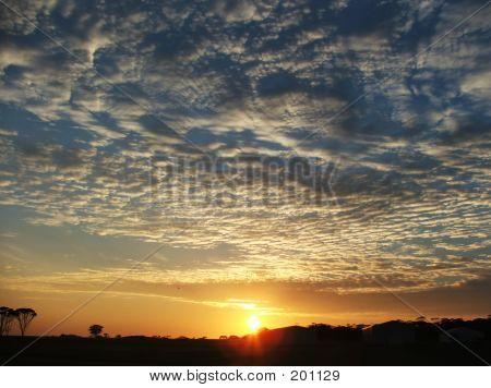 Sunsrise Sky Over Farm
