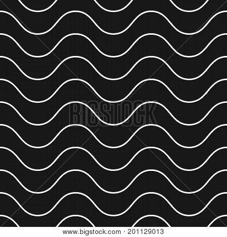 Horizontal wavy lines pattern. Subtle black monochrome background, simple geometric repeat texture with delicate waves. Design for decor, prints, textile, fabric, digital, web.