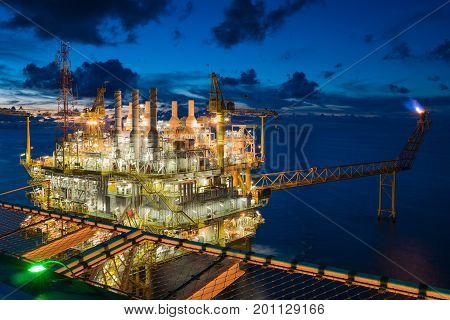 Oil and gas central processing platform in the gulf of Thailand shooting from helicopter deck at accommodation platform