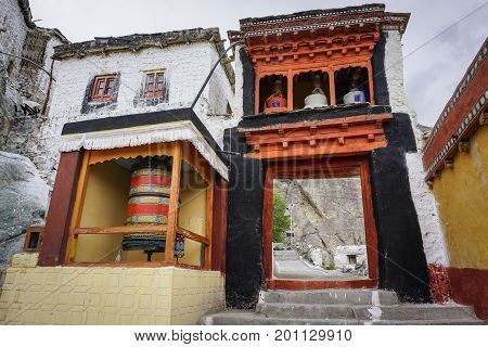 Ladakh India - Apr 1, 2015. Inside of ancient Buddhist temple in Ladakh India. Ladakh is the highest plateau in the state of Jammu & Kashmir with much of it being over 3000m.