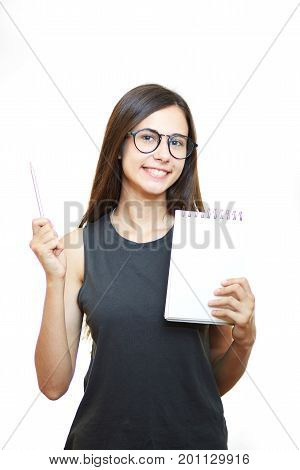 Smiling business woman holding pads of notepaper on white background