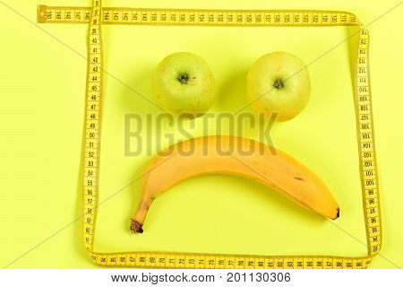 Emoticon Made Of Food And Tape For Measuring