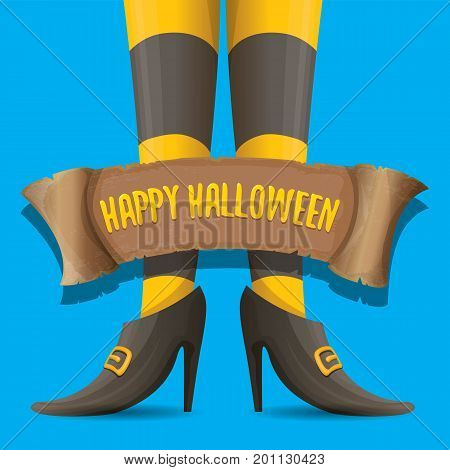vector halloween party poster with witch legs and vintage ribbon with text happy halloween isolated on blue background . girls legs with stripped stockings and shoes.