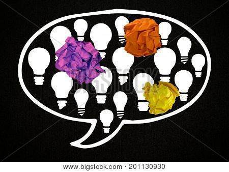 Digital composite of light bulb chat bubble with crumpled paper balls