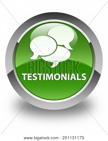 Testimonials (comments Icon) Glossy Soft Green Round Button