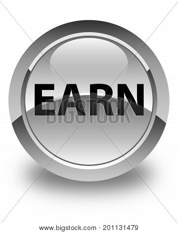 Earn Glossy White Round Button