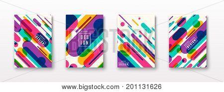 Vector illustration of cover poster pattern template set with dynamic composition made of various colored rounded shapes lines in diagonal rhythm. Minimalistic geometric motion design
