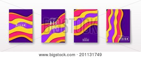 Vector illustration of cover pattern template set with dynamic composition made of various colored paper flow flexure shapes in diagonal rhythm. Minimalistic geometric motion design