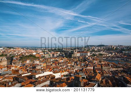 Bird's-eye view of old downtown Porto, Portugal.