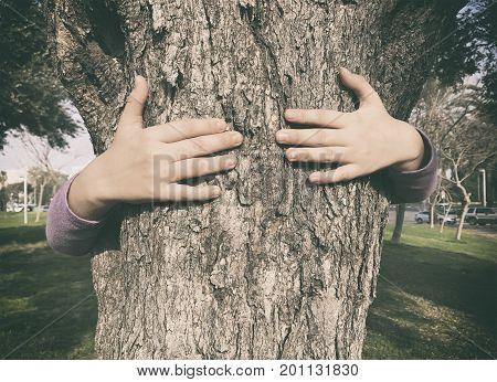 Child hug tree demonstrating environmental awareness education