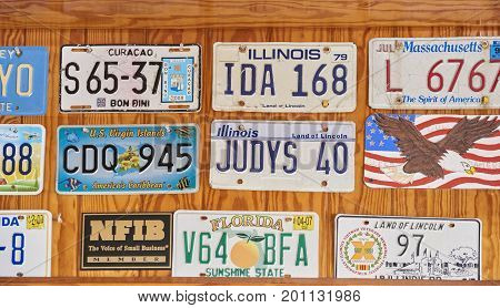License Plates as wall decorations at Sweet Scoops Ice Cream Shop in St. Charlotte florida
