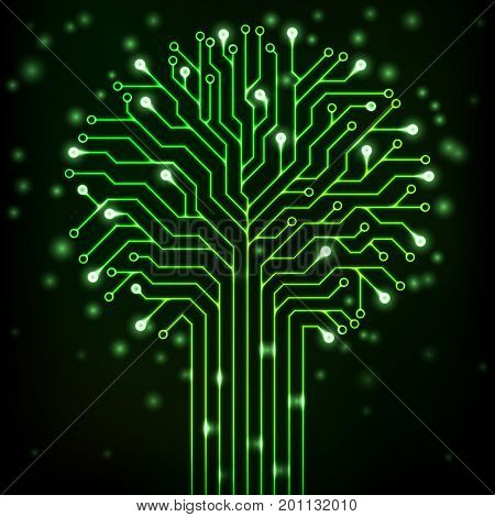 Circuit printed board in the shape of a tree with green neon lights