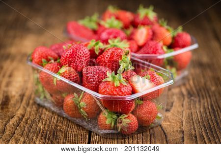 Strawberries On Wooden Background; Selective Focus