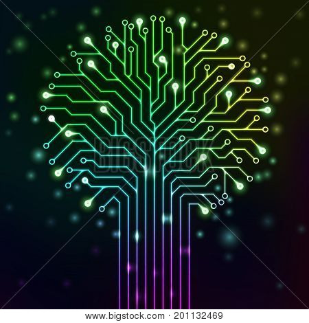 Circuit printed board in the shape of a tree with multicolor neon lights