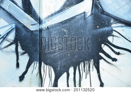 The Old Wall, Painted In Color Graffiti Drawing With Aerosol Paints. Background Image On The Theme O