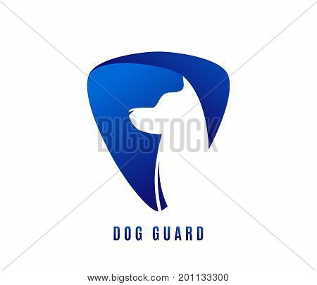 Vector illustration of dog guard with doggy head in negative blue space isolated on white background poster