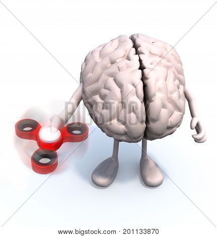 human brain with arms and legs that's play with fidget spinner 3d illustration