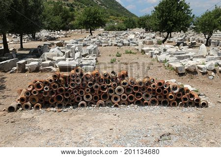 Ancient Sewerage Pipes In Ephesus Ancient City