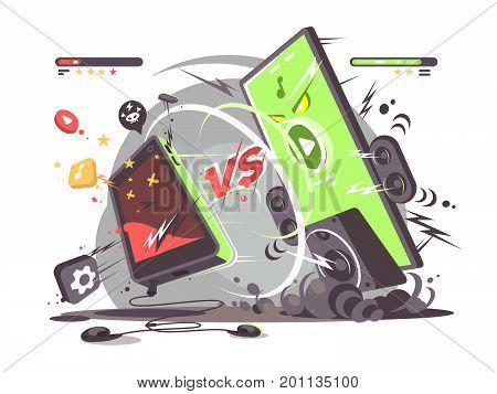 Battle of smartphones vs. Comparison of new technologies modern phone. Vector illustration