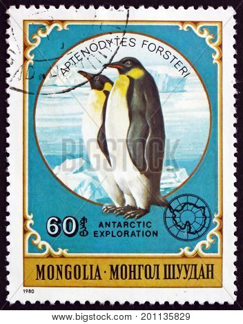 MONGOLIA - CIRCA 1980: a stamp printed in Mongolia shows Emperor Penguin Aptenodytes Forsteri is the Tallest and Heviest of All Living Penguin Species circa 1980