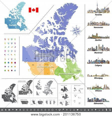 Canadian provinces and territories map colored by regions. Map, flag and largest city skylines of Canada. Vector illustration